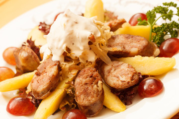liver sausage with fruits