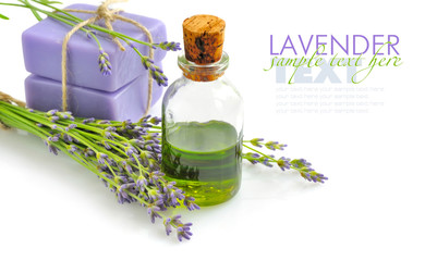 Aroma oil and handmade soap with lavender flowers