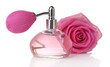 Perfume bottle with rose isolated on white