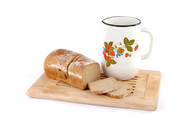 Milk jug with bread