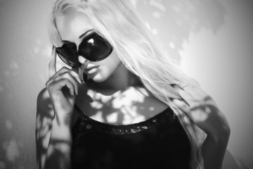 beautiful woman in sunglasses.fashion blond girl