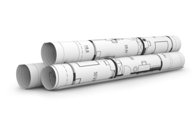 Scrolls of engineering drawings.