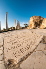 Ancient Greek inscription. Salamis Ruins. Famagusta, Cyprus
