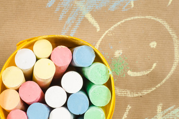multicolored chalk and sun drawing