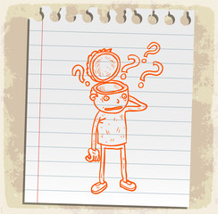 Cartoon doubts illustration