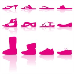Collection of 12 casual woman shoes silhouettes