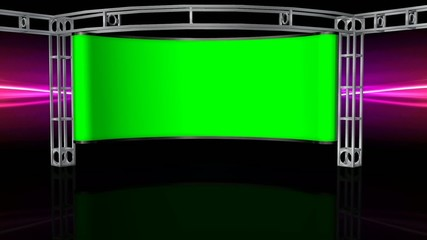 Virtual Studio Background with green screen Wall