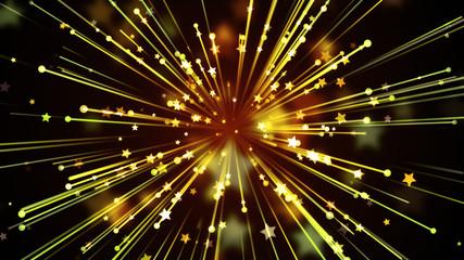 Golden Streaks and Stars Background