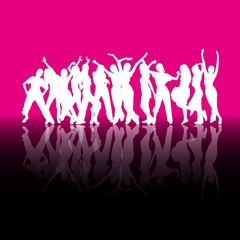 White dancing silhouettes on magenta background