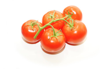 Five Vine Ripened Tomatoes Isolated on White