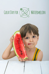 Little boy with watermelon