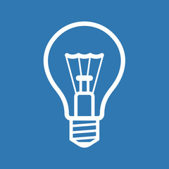 Light Bulb Icon on Blue Background. Vector