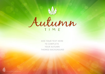 Autumn time background with text - illustration.
