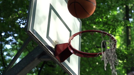 Basketball ball missed shot, super slow motion, 480fps