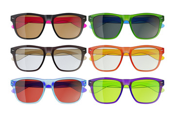 Colored glasses isolated on white background 3
