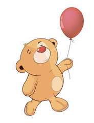 A stuffed toy bear cub and a toy balloon cartoon