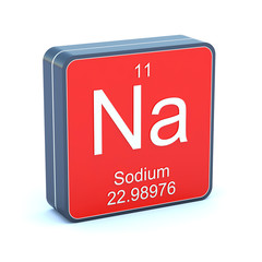 Sodium - element of the periodic table on 3d red icon