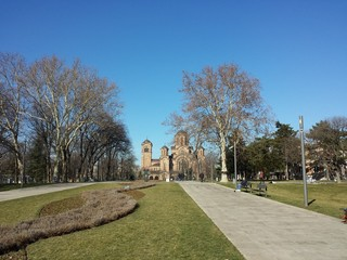 Old park with curch