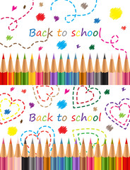 Back to school Colored pencils Vector illustration.