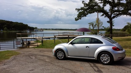 Volkswagen Beetle at the lake