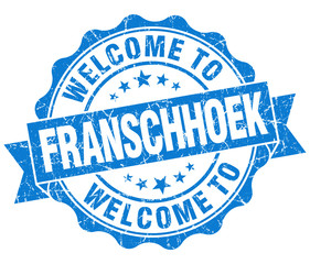 welcome to Franschhoek blue vintage isolated seal