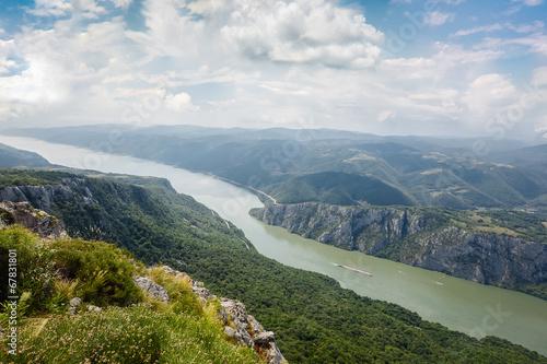 Fotobehang Luchtfoto Danube river at Iron Gate gorge