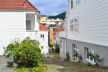 Narrow street of Bergen, Norway