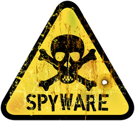 spyware or computer virus warning sign, vector illustration