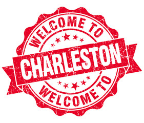 welcome to Charleston red vintage isolated seal