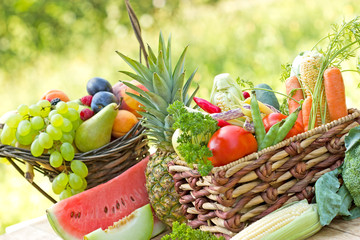Various fresh, organic fruit and vegetable