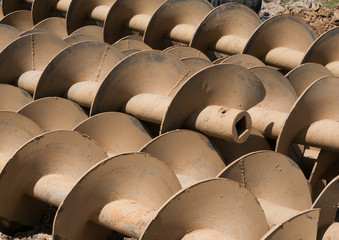 Tube of rust steel auger bunch before hot-dip galvanized.