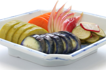 homemade japanese pickles, tsukemono, japanese traditional food