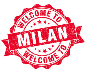 welcome to Milan red vintage isolated seal