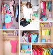 Girl choosing cloth, collage