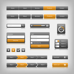 Web design elements with reflection. Login, search, 3 option.