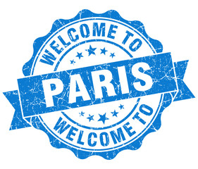 welcome to Paris blue vintage isolated seal