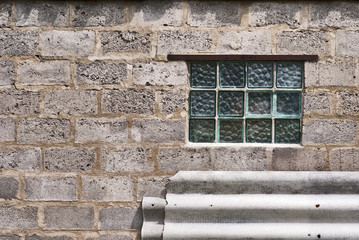 glass block window in the wall