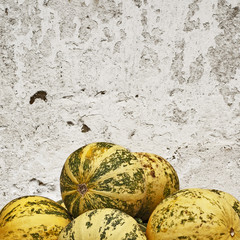 pumpkins near the wall