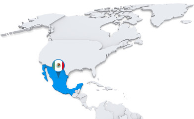 Mexico on a map of North America