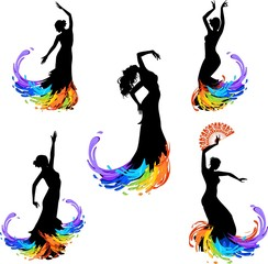 Five silhouettes of dancer