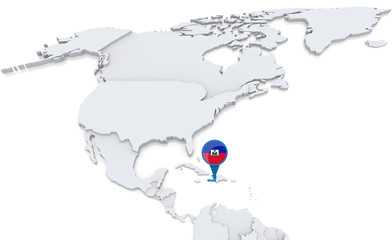 Haiti on a map of North America