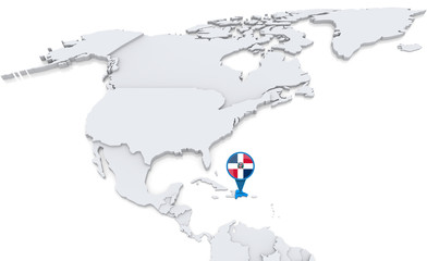Dominican Republic on a map of North America