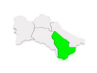 Map of Mary Province. Turkmenistan.
