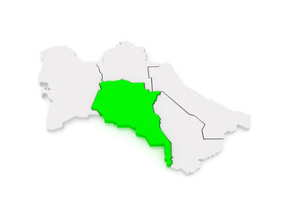 Map of Akhal velayat. Turkmenistan.
