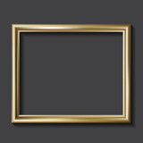 Fototapety Simple golden picture frame, vector illustration