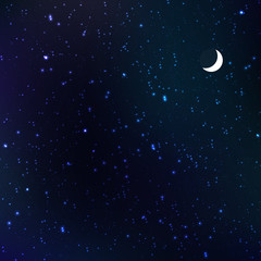 Starry night with moon, vector illustration