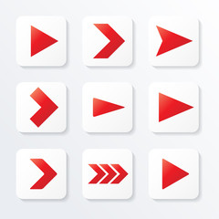 Set of red arrows, web icon, vector illustration