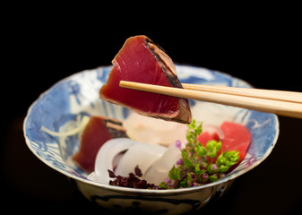 Japanese raw seafood. Assorted sashimi.