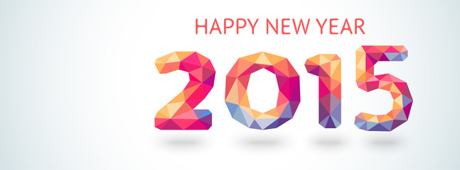 Happy New Year 2015 colorful greeting card made in polygonal