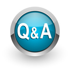 question answer blue glossy web icon